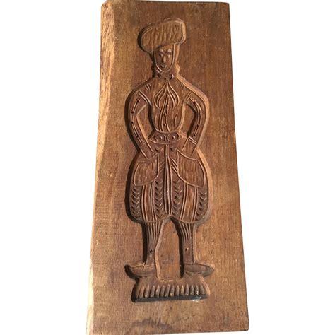 antique wood carved figural motive springerle cookie