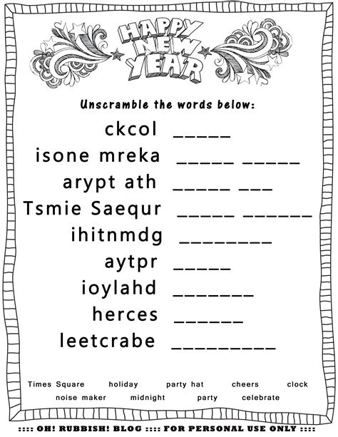 new year puzzles worksheets new year s printable activities entertain your