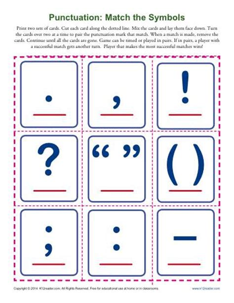 Punctuation Marks Worksheets by Punctuation Match The Symbols Punctuation Worksheets