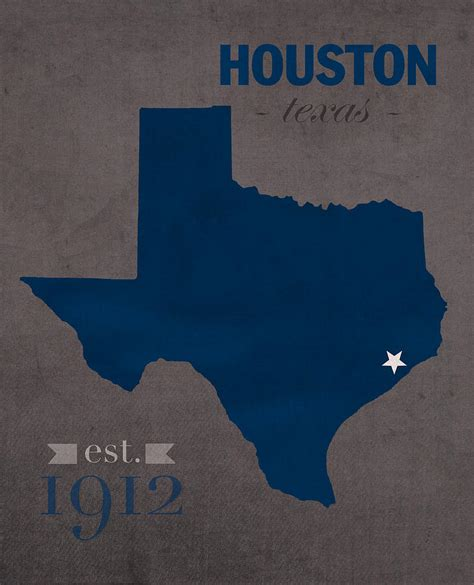 houston texas map rice university owls houston texas college town state map poster series no 091 mixed media by