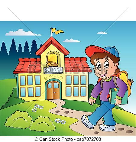 mi cartoon themes vector of theme with boy and school building vector