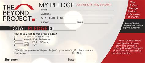 pledge card template church pledge card sle success