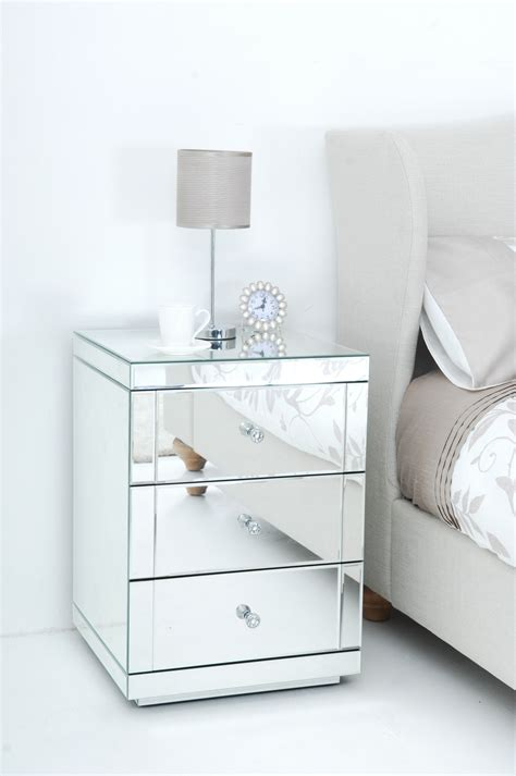 Mirrored Nightstand With Drawers by Lovely Three Drawer Bedside Tables With Mirror Accent