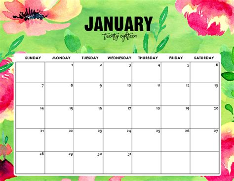 printable calendar 2018 design free printable january 2018 calendar 12 awesome designs