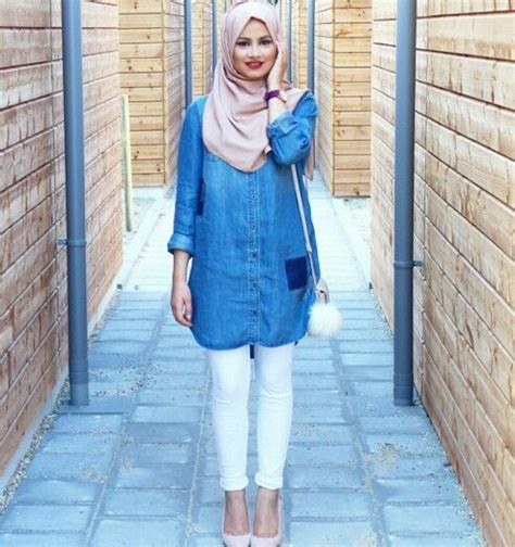 Endia Jacket New Hijabers Style as casual as a denim shirt white and a