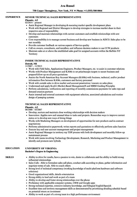 technical sales representative resume sles velvet