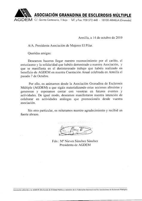 Carta De Agradecimiento Por Gestion Realizada Asociacion De El Pilar De Armilla Carta De Agradecimiento Por Nuestra Colaboracion