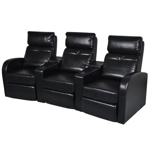 Black Leather Recliner Sofas Artificial Leather Home Cinema Recliner Reclining Sofa 3 Seat Black Vidaxl