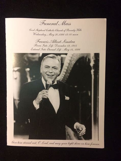 frank sinatra funeral mass booklet may 20 1998