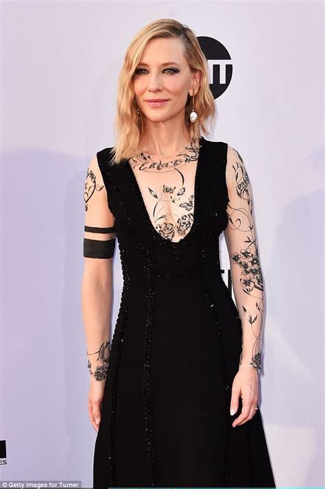 cate blanchett tattoo pretty in ink cate blanchett shocks in sparkly black gown