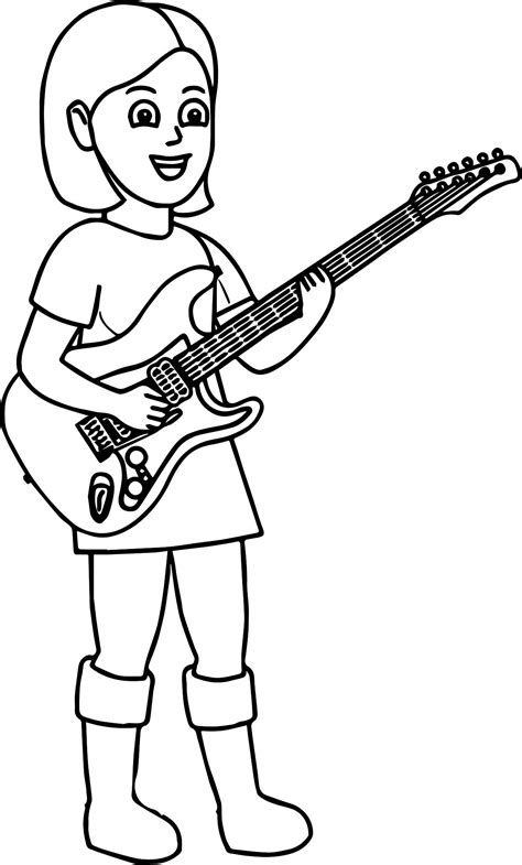 girl guitar coloring page kids playing music girl playing the guitar coloring page