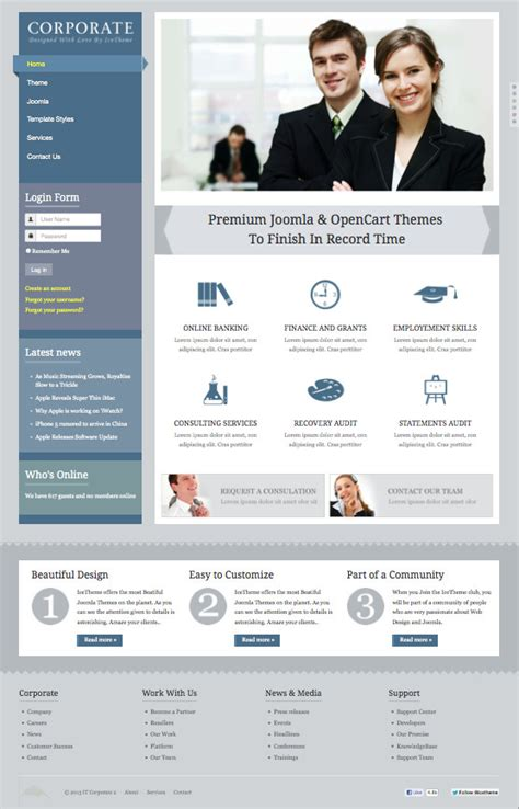 joomla free business templates it corporate 2 responsive joomla 2 5 3 0 template for