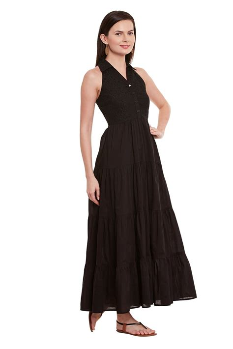 Button Dress Maxi Dress Gamis front button maxi dress in black color with half