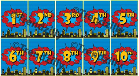 printable number line banner superhero birthday banner number add on comic book party