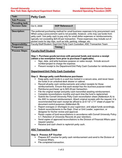 procedure templates standard operating procedure template exle evq8bwf6