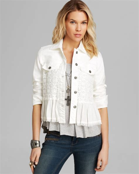 Denim Mix Lace Shirt 2 free denim and lace mix jacket in white lyst