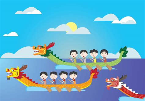 cartoon boat race dragon boat festival kids vector download free vector