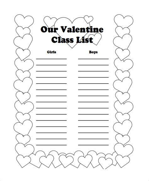 valentines list sle class list template 7 free documents in pdf