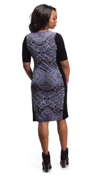 Print Panel Sleeve Dress circuitry print panel dress with sleeves shenova