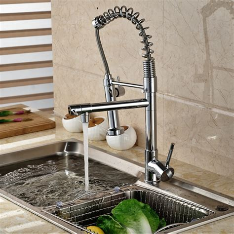 new tall chrome pull down spring dual spray kitchen faucet wholesale and retail single lever spring pull down kitchen