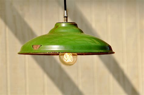 Hanging Kitchen Lights Over Island hanging industrial light vintage upcycled green industrial