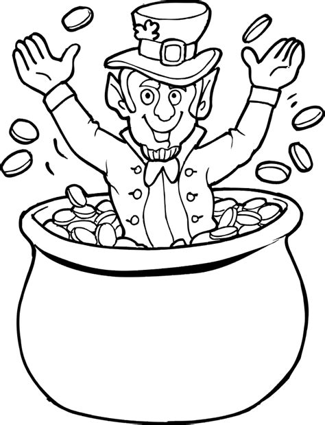 pot of gold coloring page leprechaun pot of gold coloring pages