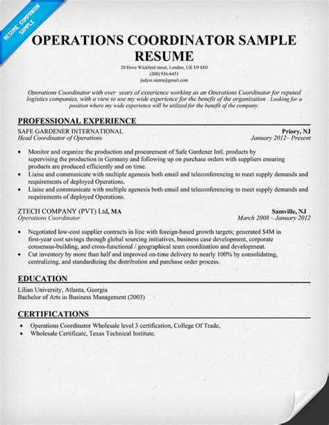 Resume Sample Graphic Artist by Operations Coordinator Resume Tips For Resume Amp Job