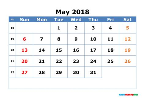 free printable monthly calendar large numbers may 2018 calendar with week numbers printable 2018 2019