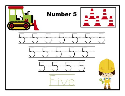printable tracing numbers construction number tracing printable preschool printables