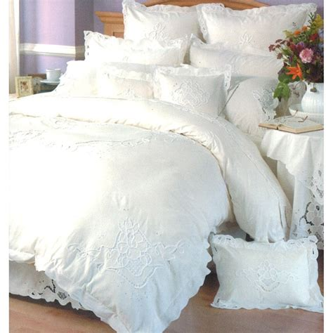 Beautiful Duvet Sets Embroidered Ecru White King Size Mini Duvet Cover Set
