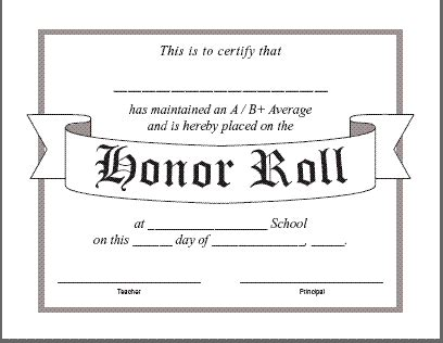 A B Honor Roll Certificate Template by Honor Roll Certificate Templatereference Letters Words