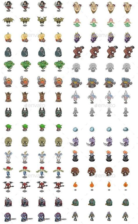 pixel monster set sprites game assets game sprites