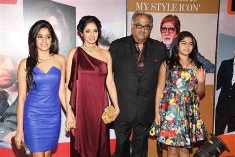 sridevi red carpet sridevi with family posing on the red carpet of the