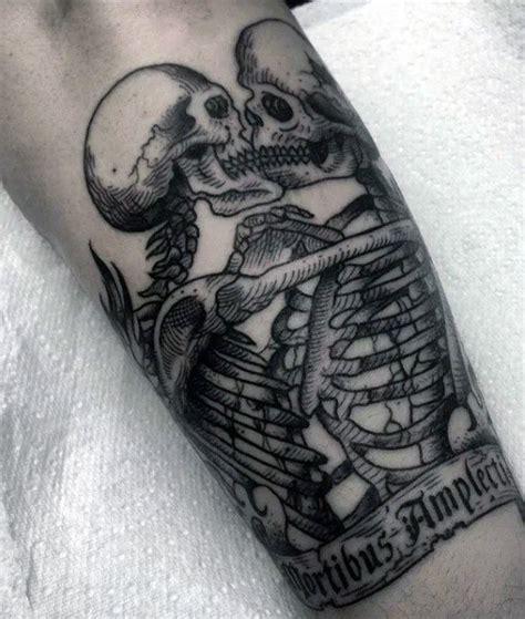 50 skeleton tattoos for men spine tingling after life