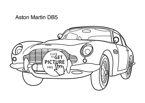 super car aston martin db5 coloring page for kids 2