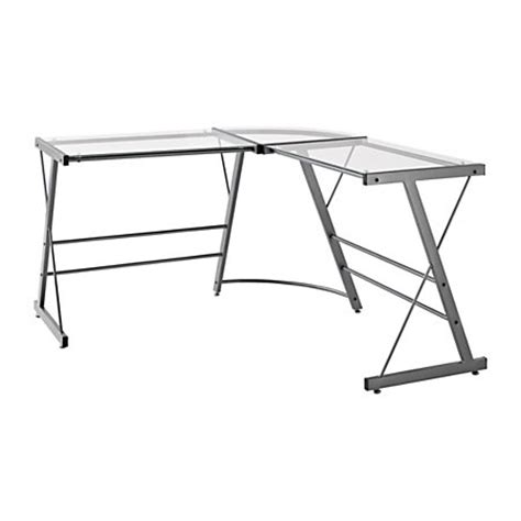 Glass L Shaped Desk Office Depot Altra Glass L Shaped Computer Desk 30 H X 51 W X 51 D Gray By Office Depot Officemax