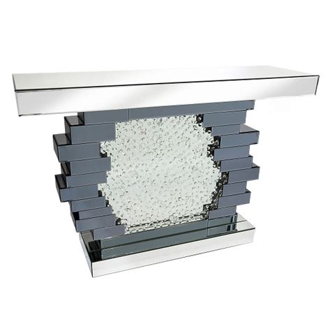 Table With Crystals Irvine Glass Console Table With Crystals Mirror In Centre
