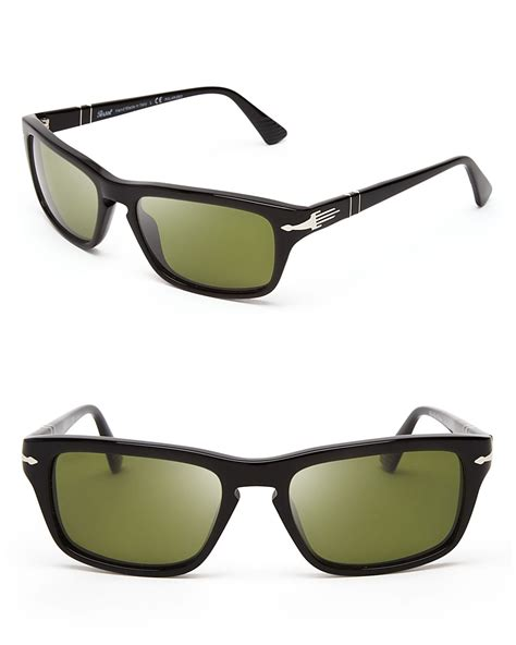 Keyhole Sunglasses by Persol Polarized Keyhole Wayfarer Sunglasses In Black For