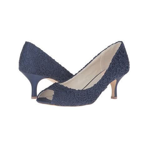 Top Five Navy Heels by Navy Lace Heels Peep Toe Kitten Heel Pumps For Bridesmaid
