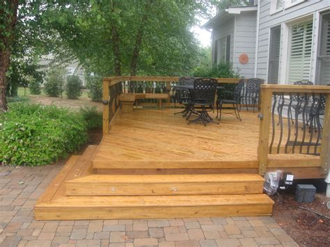 backyard wood patio patio design small decks open stairs brick patio