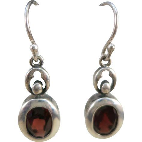 Hook Earrings vintage sterling garnet fish hook earrings from
