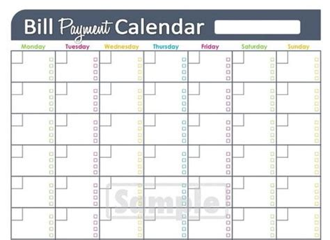 printable bill organizer spreadsheet monthly bill payment calendar excel calendar pinterest