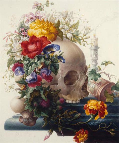 flower skull painting alternative cool composition flowers skull still