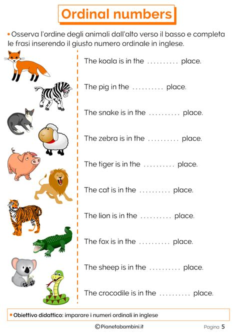 test schede i numeri ordinali in inglese per bambini schede