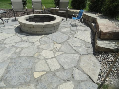Patio And Firepit New York Blue Irregular Flagstone Patio Flagstone Patios Pits Patio And York