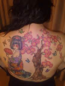 Lovely colorful tree and butterfly tattoo for female