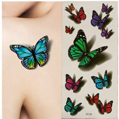 temporary tattoo paper national bookstore aliexpress com compre 1 pcs 3d borboleta colorida