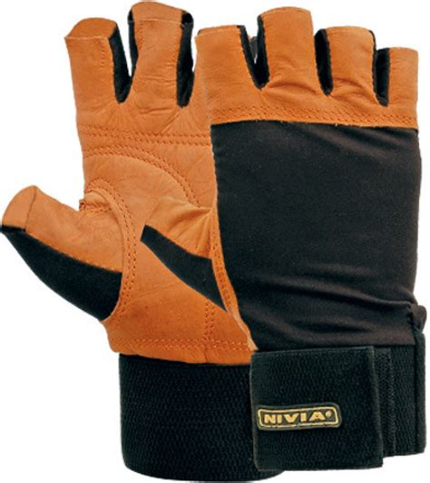 Tengtop Fitnes Hm Black Original nivia leather with wrist band fitness gloves l