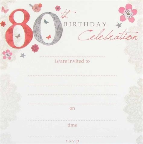 free 80th birthday invitations templates 80th birthday invitations template