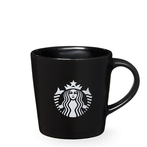 Kartu Starbuck Black Siren a demi sized ceramic coffee mug in black with a black and white siren logo part of the